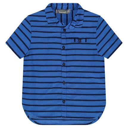 Chemise en coton avec rayures reliefées all-over