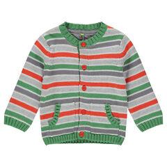 Gilet en tricot rayé avec poches