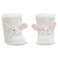 Chaussons en tricot fantaisie à oreilles de lapin en relief et broderies