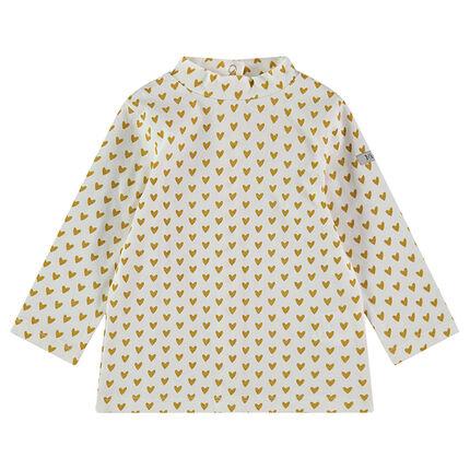 Sous-pull en jersey avec col montant et coeurs imprimés all-over