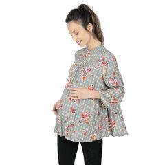 Top de grossesse ample à carreaux et fleurs all-over