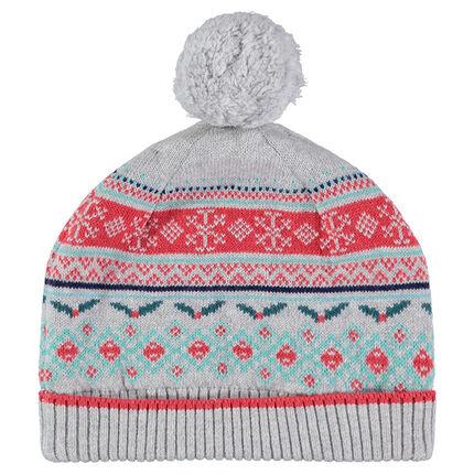 Bonnet en tricot avec motif jacquard esprit Noël et pompon