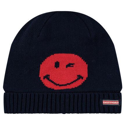 Bonnet en tricot motif ©Smiley