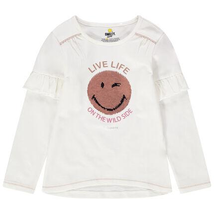 T-shirt manches longues volanté en jersey avec Smiley en sequins magiques