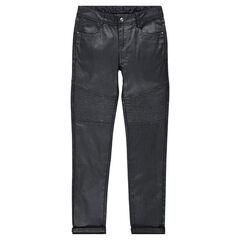 Junior - Pantalon en twill enduit avec découpes