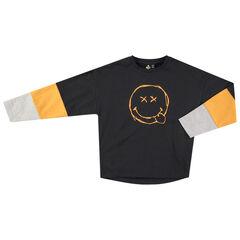 Junior - T-shirt manches longues tricolore avec Smiley printé