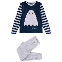 Pyjama en velours requin ludique pour enfant garçon , Orchestra