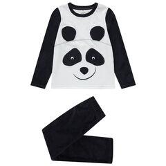 Pyjama panda bicolore en velours