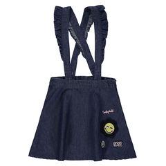 c5224933771 Robe-salopette en chambray avec bretelles volantées et ©Smiley brodé