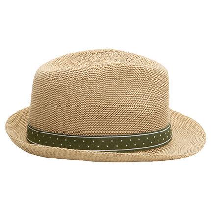 Chapeau trilby effet paille avec ruban vert