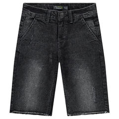 Junior - Bermuda en jeans effet used avec bords francs