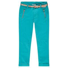 Junior - Pantalon en twill 7/8ème avec poches zippées
