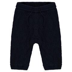 Pantalon élastiqué en tricot doublé jersey