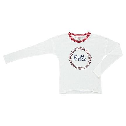 Junior - Tee-shirt manches longues forme boîte printé aspect lin
