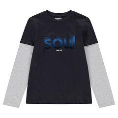 Junior - Tee-shirt manches longues en jersey effet 2 en 1 avec mot printé