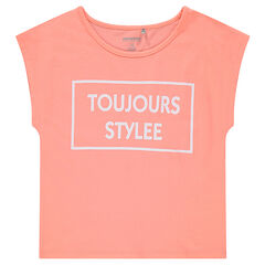 Junior - Tee-shirt manches courtes forme boîte avec print fantaisie