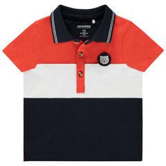 Polo manches courtes tricolore en coton bio badge ourson , Orchestra