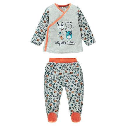 Pyjama en velours imprimé animaux all-over avec pieds fermés