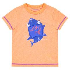 437034a5c5e53 Tee-shirt manches courtes en jersey chiné avec requin printé et empiècement  mobile