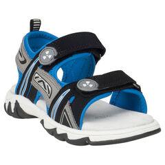 Nu-pieds bi-matière avec doublure contrastée