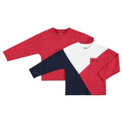 Junior - Lot de 2 tee-shirts manches longues assortis uni / à bandes contrastées et poche