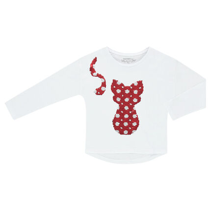 Tee-shirt manches longues en jersey avec chat en sequins magiques