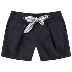 Junior - Short en coton plumetis avec liens à nouer