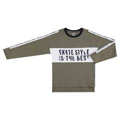 Junior - Tee-shirt manches longues en jersey slub avec inscriptions printées
