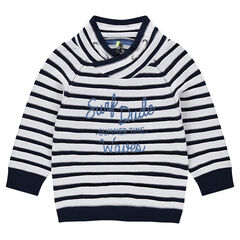 Pull en tricot rayé avec inscription printée