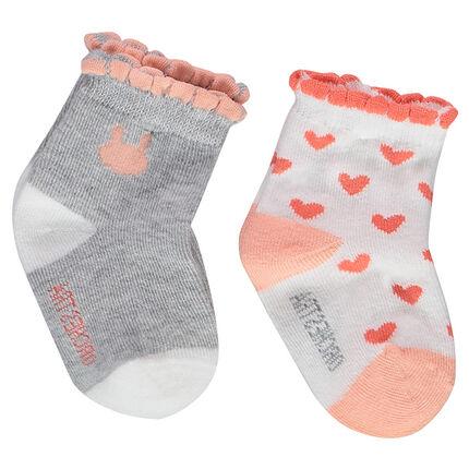 Lot de 2 paires de chaussettes assorties avec bord-côte festonné