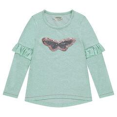 Tee-shirt manches longues en jersey chiné avec papillon en sequins magiques et volants