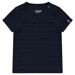 Tee-shirt manches courtes en slub avec poche printée