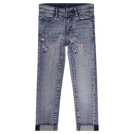 jeans effet used coupe slim avec taches de peinture orchestra fr. Black Bedroom Furniture Sets. Home Design Ideas