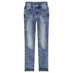 Junior - Jeans coupe slim avec strass fantaisie