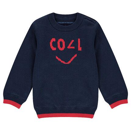 Pull en double tricot avec motif jacquard contrasté