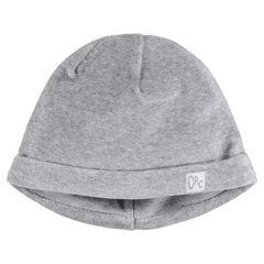 Bonnet en velours gris chiné doublé jersey