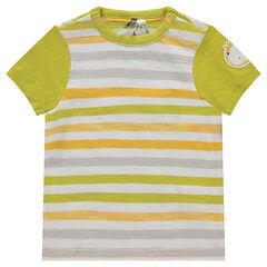Tee-shirt manches courtes en jersey rayé avec patch lion