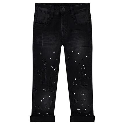 Jeans used avec effet taches de peinture