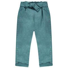 Pantalon en twill bleu à pois colorés brodés