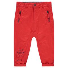 Pantalon en twill surteint avec inscription printée et 2 poches zippées