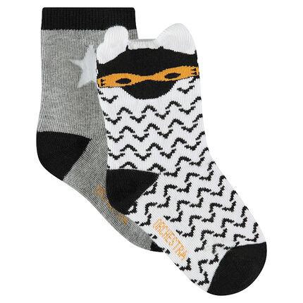 Lot de 2 paires de chaussettes assorties à motif graphique / unies avec étoile