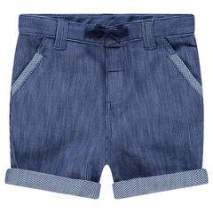 Bermuda en coton fantaisie effet jeans avec cordons de serrage