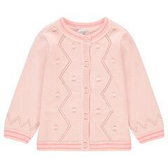 Gilet en tricot avec pompons et finitions en bord-côte rectiligne