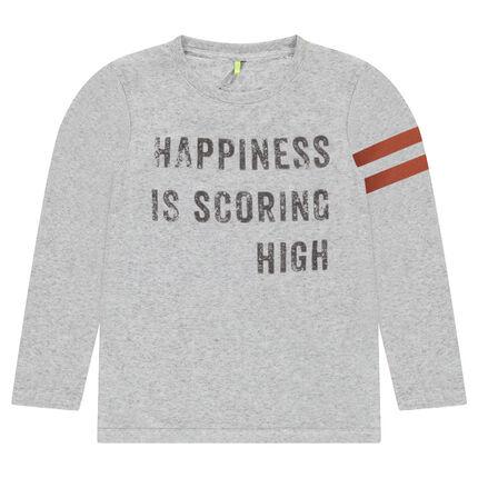Junior - Tee-shirt manches longues avec texte printé et bandes contrastées