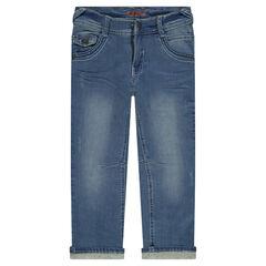 Jeans droit effet used et crinkle doublé jersey