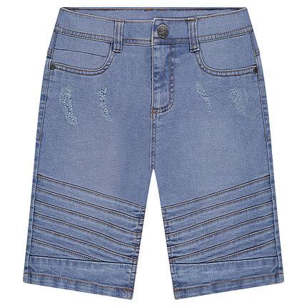 Junior - Bermuda en jeans bleach avec jeu de surpiqûres