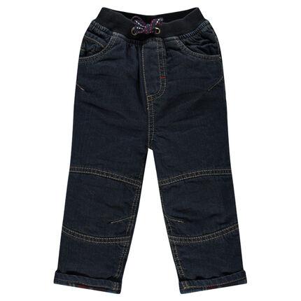Jeans doublé flanelle avec lettre et étoiles brodées