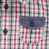 Chemise manches courtes à carreaux avec détails chambray