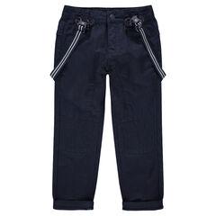 Pantalon en toile bleu marine avec bretelles rayées amovibles