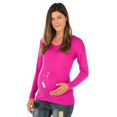 Tee-shirt manches longues de grossesse avec print fantaisie  , Prémaman